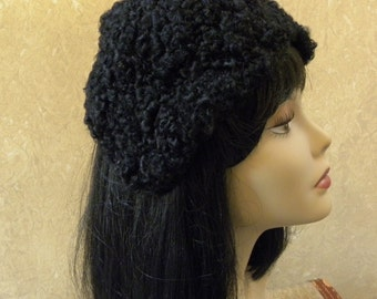 Vintage 1950s Black Curly Lambs Wool Hat -- By Designer John Wanamaker