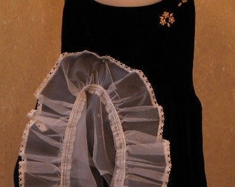 Vintage 1960s Little Girls Circle Dress -- Black Velvet Circle Dress with Petticoat Gold Flowers and Pearl Trim