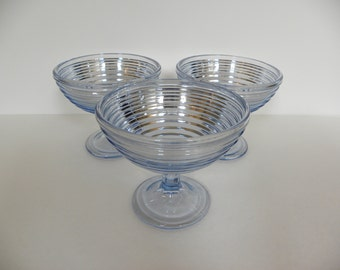 Vintage Blue Glass Ribbed Compote Dishes -- Set of 3