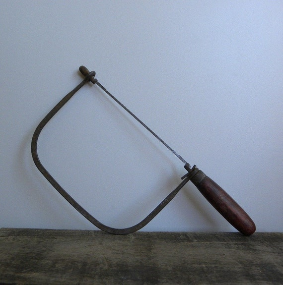 Antique Scroll Saw: Antique Coping Scroll Saw With Red Wooden Handle