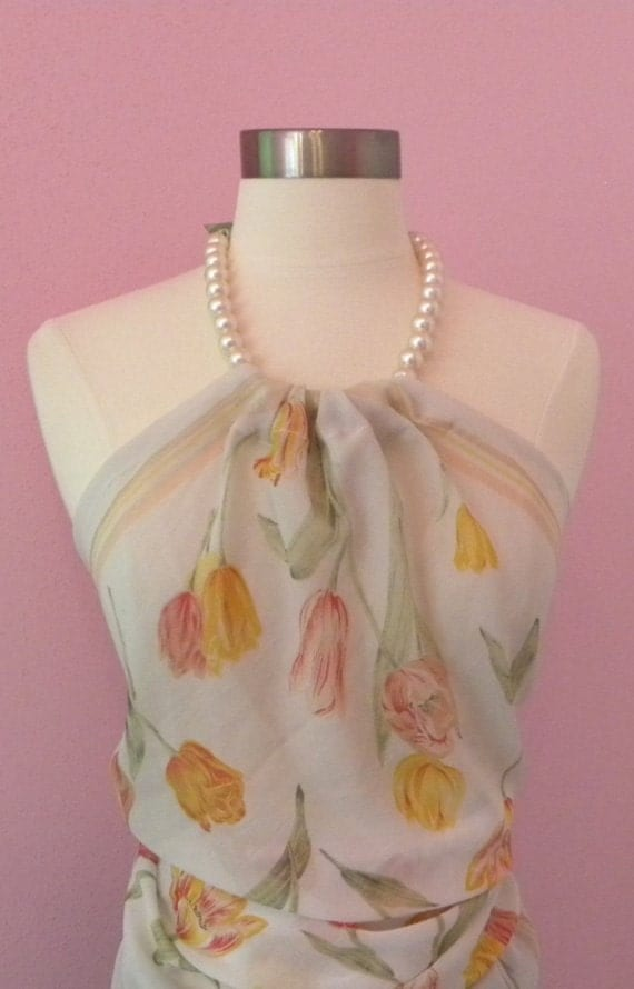 Upcycled Tank Top --  White Sheer tulips Scarf and Necklace Tank Top Large - X-Large