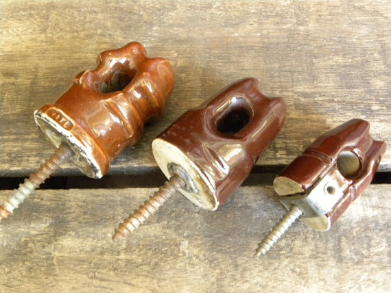 Antique Electrical Telephone Pole Insulators with mounting screws-Brown Ceramic-Set of three