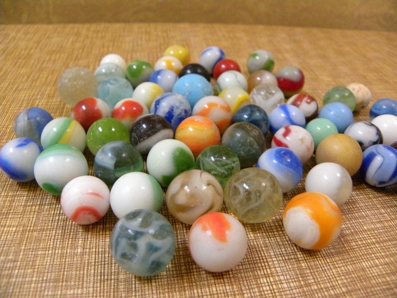 Vintage Glass Marbles Collection Of 58 Antique Catseye