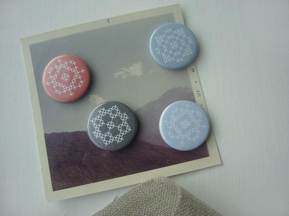 faux stitch pin badge set