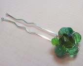 Beaded Cluster Hair Pin - Goin' Green - FREE SHIPPING