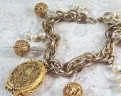 Handcrafted Locket Charm Bracelet - OOAK - Vintage Elements - FREE SHIPPING