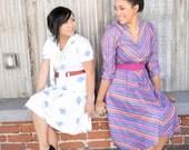Vintage Diagonal stripes in pink purple mix dress VR736