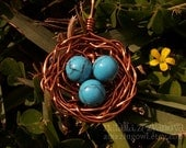 Enchanting Bird's Nest Pendant - Copper and Turquoise