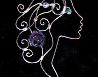 Violet Roses - woman's profile - sterling siver wire pendant