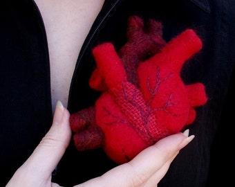 A Patchwork Heart - Needle-felted Anatomical Heart Sculpture Pincushion