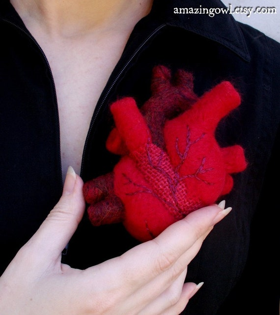 A Patchwork Heart - Needle-felted Anatomical Heart Sculpture Pincushion