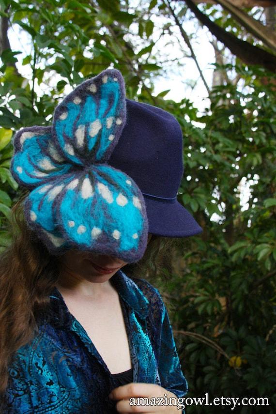 Luminous Needle Felted Blue Butterfly Hat - Fedora Cloche - Wearable Art - OOAK