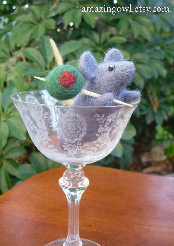 Martini Mouse - Funny Needle Felted Mouse and Olive Ornament