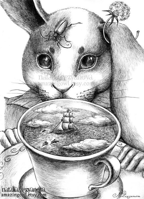 March Hare - Tempest in a Teacup - 8 x 10 giclee print