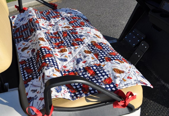 Golf Cart Seat Cover Red White and Blue