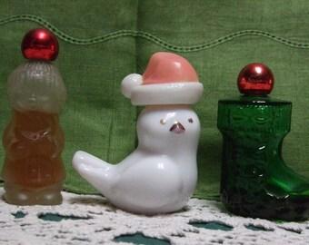 Avon Vintage Christmas Bottle Trio Caroler Chickadee Stocking