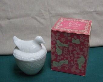 Avon Nesting Dove Milk Glass Jar Bird Container