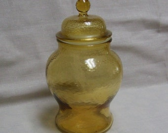 Yellow Vintage Ginger Jar, Urn Shaped Canister with Lid, Textured Glass