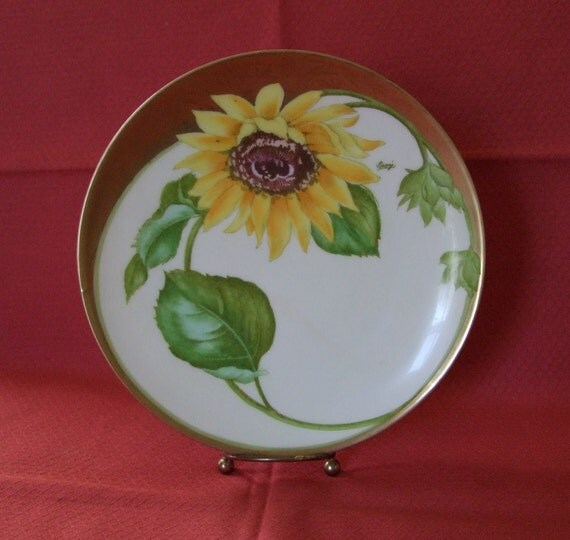 Handpainted Sunflower Vintage Bavarian Plate by Gray Flower Gold Wall Hanging