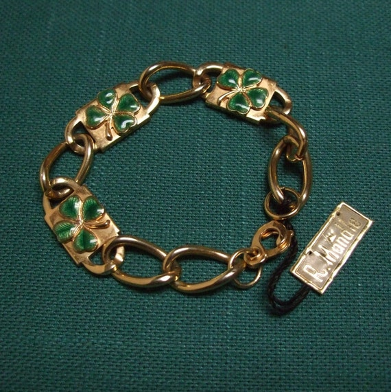 R. Mandle Four Leaf Clover Gold Bracelet, Rare Shamrock Jewelry with Original Tag