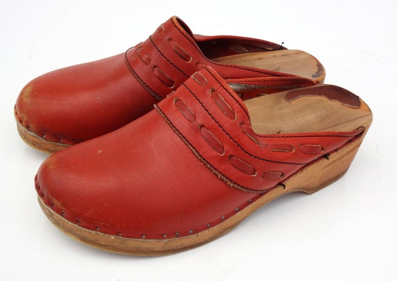 Boho Vachetta Leather Clog Bastad-Toffeln Sz 40 Euro or 9.5 10 US SWEDEN