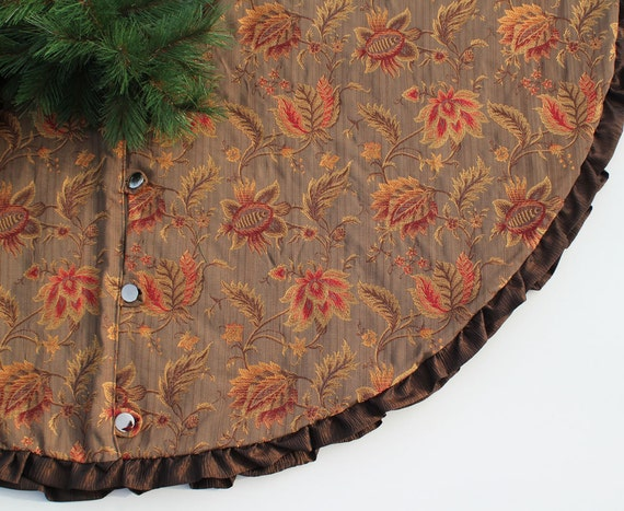 SALE Christmas Tree Skirt Rich Bronze and Gold Floral 58 Inch
