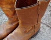 ON SALE Vintage Brown Texas Cowboy Boots Men's Size 10.5