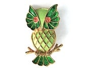 Green and Gold Owl Brooch from JJ