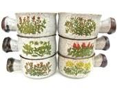 Stoneware Bowls With Handles Set of 6 Flower Design