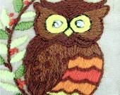 Vintage Owl Crewel Embroidery Framed Picture