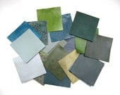 Leather Sample Squares in Blues Greens Grays