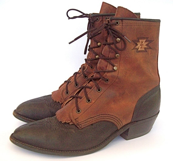 HOLIDAY SALE Brown Black Leather Two-Tone Roper Style Lace Up Boots Women's size 9