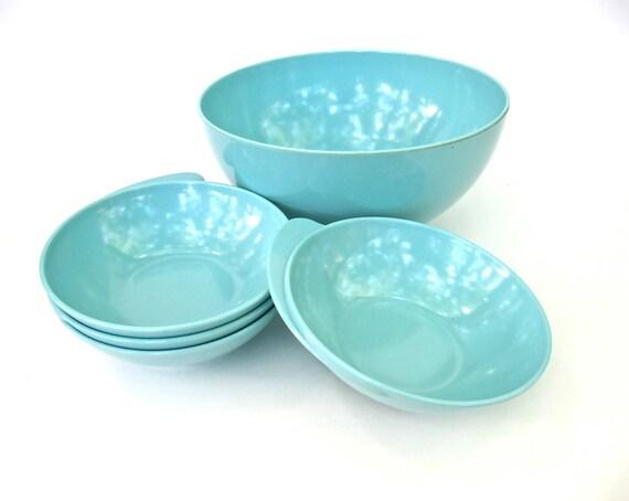 Turquoise Melmac Apollo Ware Salad Bowl Set