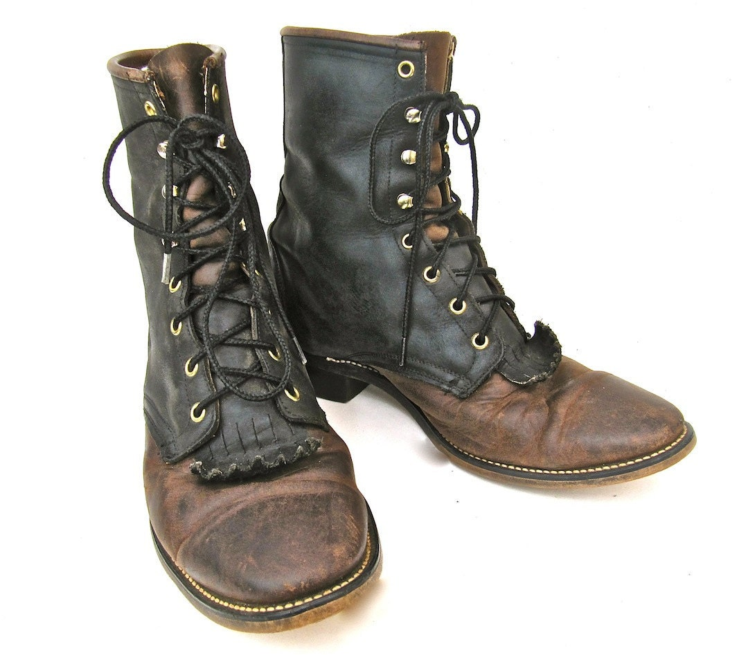 Men&39s Laredo Roper Lace Up Boots Brown and Black by worldvintage