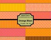 BUY 2 GET 2 FREE - Instant Download - Digital Paper pack Orange Blast backgrounds for Scrapbooking, Card Making, Printable 34