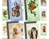 BUY 2 GET 1 FREE - Instant Download - Vintage Christmas Collage Sheet - 1 x 2 inch rectangles for pendants, magnets, tags 87