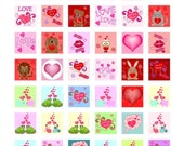 Buy 2 GET 1 FREE - Instant Download - Valentine Love and Hearts Collage Sheet - 1 inch squares for pendants, stickers, tiles, magnets 184