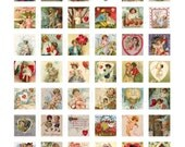 Buy 2 GET 1 FREE - Instant Download - Vintage Valentines Collage Sheet - 1 inch squares for pendants, stickers, tiles, magnets 186