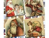 Buy 2 GET 1 FREE - Instant Download - Vintage Christmas Santas Collage Sheet - 1 inch squares for pendants, stickers, tiles, magnets 110