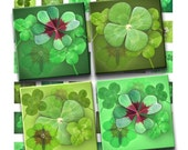 Buy 2 GET 1 FREE - Instant Download - Four Leaf Clover Lucky Charms Collage Sheet 1 inch squares for pendants, stickers, tiles, magnets. 191