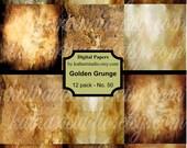 BUY 2 GET 1 FREE - Instant Download - Gold Digital Paper pack Grunge, Backgrounds, Vintage, Digital Scrapbook Papers Download and Print 50
