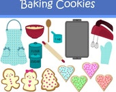 Instant Download - Baking Cookies Clip Art for personal and commercial use DS59
