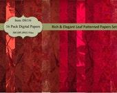 Buy 2 GET 1 FREE - Instant Download - Leaf Patterned Textured Grunge Backgrounds Set 4 Paper for Scrapbooking, Card Making, Printable DS116