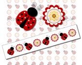BUY 2 GET 1 FREE - Instant Download - Ribbon Graphics Images - Print Your Own 7/8 inch Cute Ladybug and Flower Ribbon 266