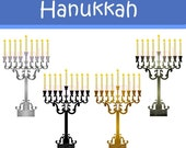 Buy 2 GET 1 FREE - Instant Download - Hanukkah Clip Art Set for personal and commercial use DS46