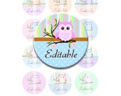Buy 2 GET 1 FREE - Instant Download - Editable Owl on a Branch 4x6 Collage Sheet 1 inch circles for bottle caps, pendants, hair bows DSP144