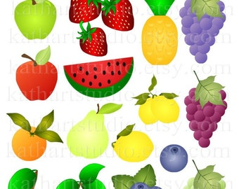 Instant Download - Fruit, Apples, Berries, Pineapple, Grapes, Lemons, Pear Clipart  Card Making Commercial Use 33