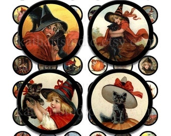Instant Download - Vintage Halloween Collage Sheet - 1 inch circles for pendant, bottle cap, stickers, tiles, magnets 112