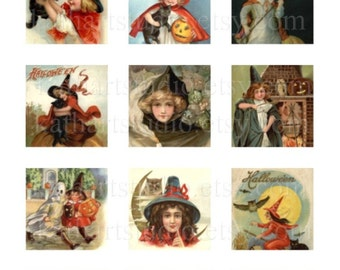 Instant Download - Vintage Halloween Witches Collage Sheet 2 inch sq. for pendants, stickers, tiles, magnets 145