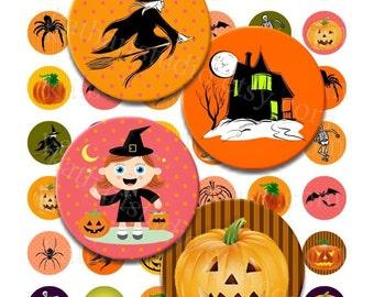 Instant Download - Halloween Collage Sheet - 1 inch circles for pendants, scrabble tiles, scrapbooking, etc. 101